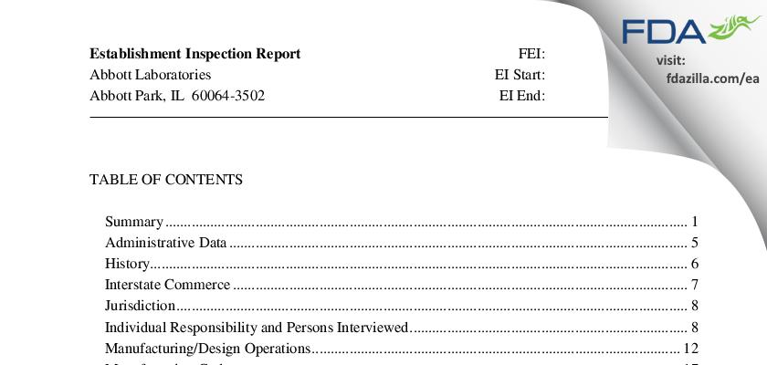 Abbott Labs FDA inspection 483 Aug 2013