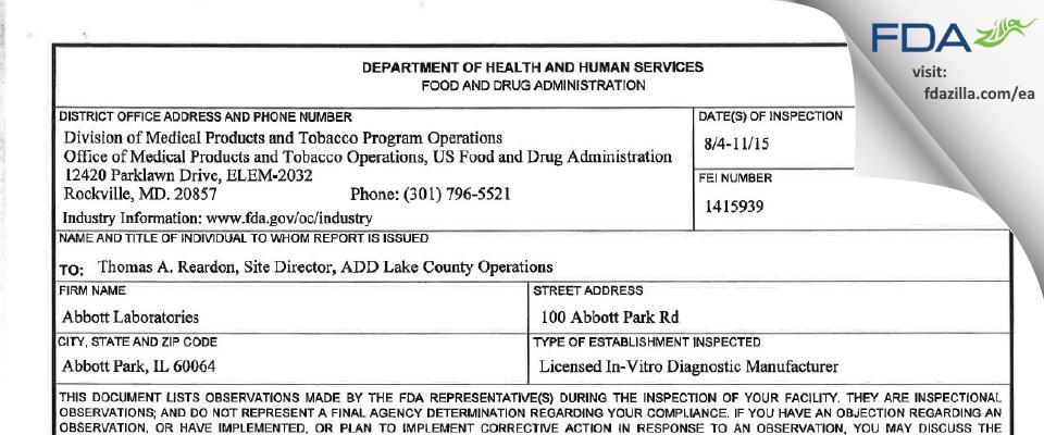 Abbott Labs FDA inspection 483 Aug 2015