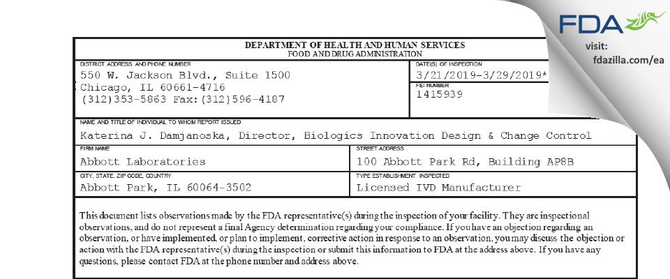 Abbott Labs FDA inspection 483 Mar 2019