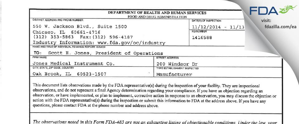 Jones Medical Instrument FDA inspection 483 Nov 2014
