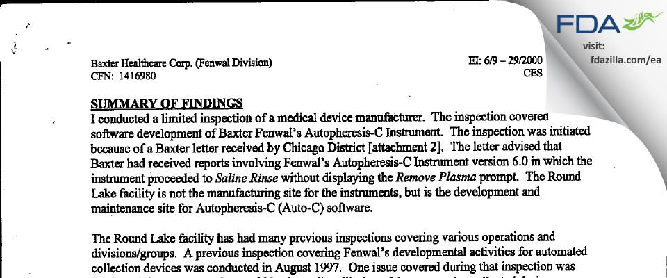 Baxalta US FDA inspection 483 Jun 2000