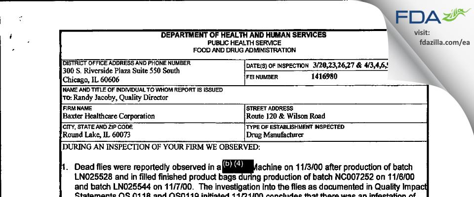 Baxalta US FDA inspection 483 Apr 2001