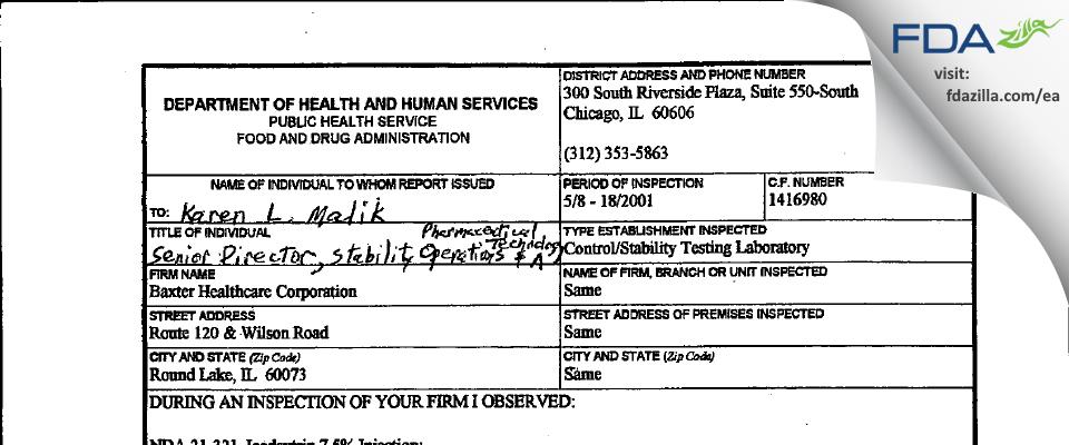 Baxalta US FDA inspection 483 May 2001