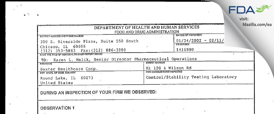 Baxalta US FDA inspection 483 Feb 2002