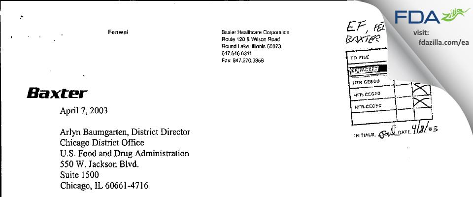 Baxalta US FDA inspection 483 Mar 2003