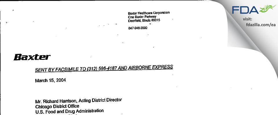 Baxalta US FDA inspection 483 Mar 2004