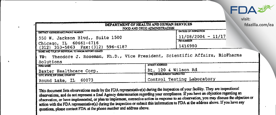 Baxalta US FDA inspection 483 Nov 2004