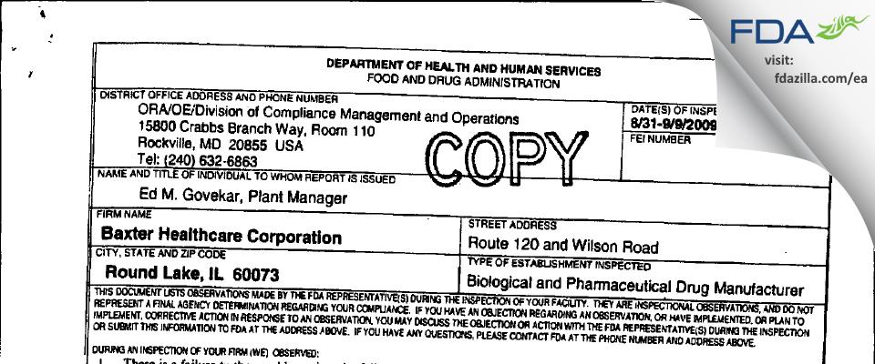 Baxalta US FDA inspection 483 Sep 2009