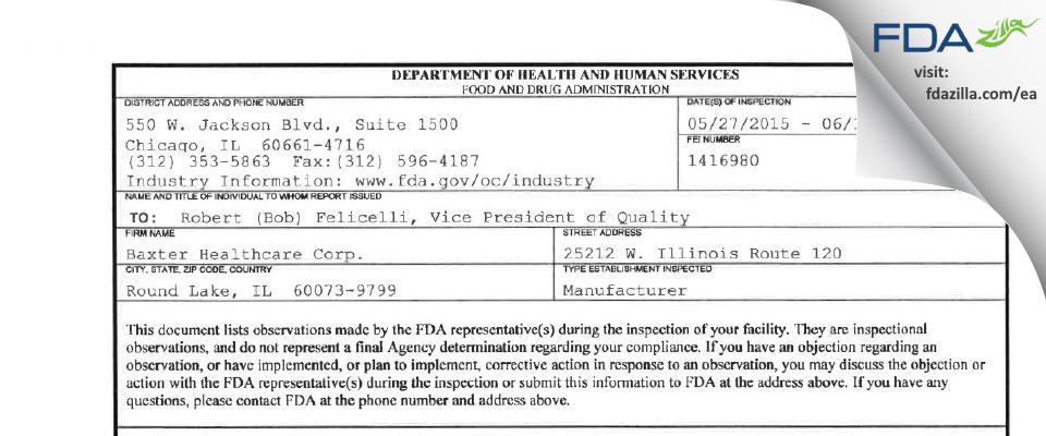 Baxalta US FDA inspection 483 Jun 2015