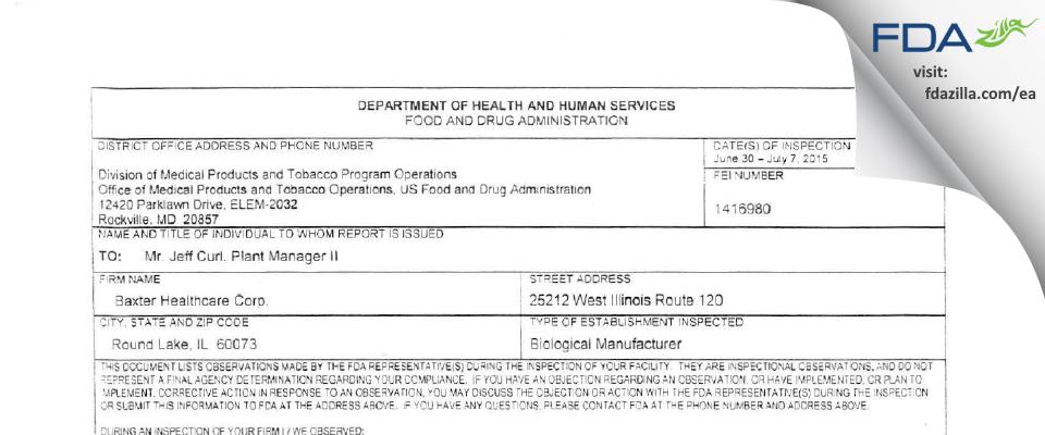 Baxalta US FDA inspection 483 Jul 2015