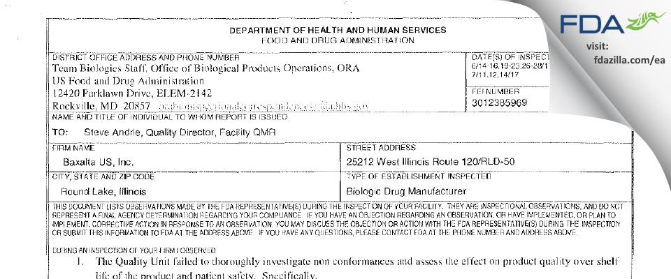 Baxalta US FDA inspection 483 Jul 2017
