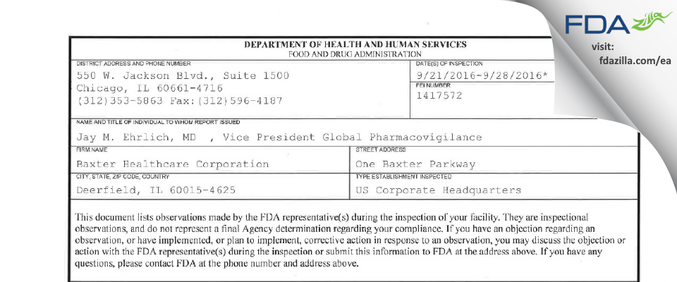 Baxter Healthcare FDA inspection 483 Sep 2016