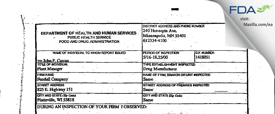 Honeywell Safety Products FDA inspection 483 May 2000