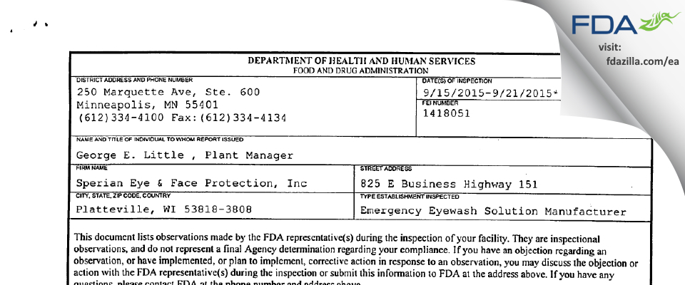 Honeywell Safety Products FDA inspection 483 Sep 2015