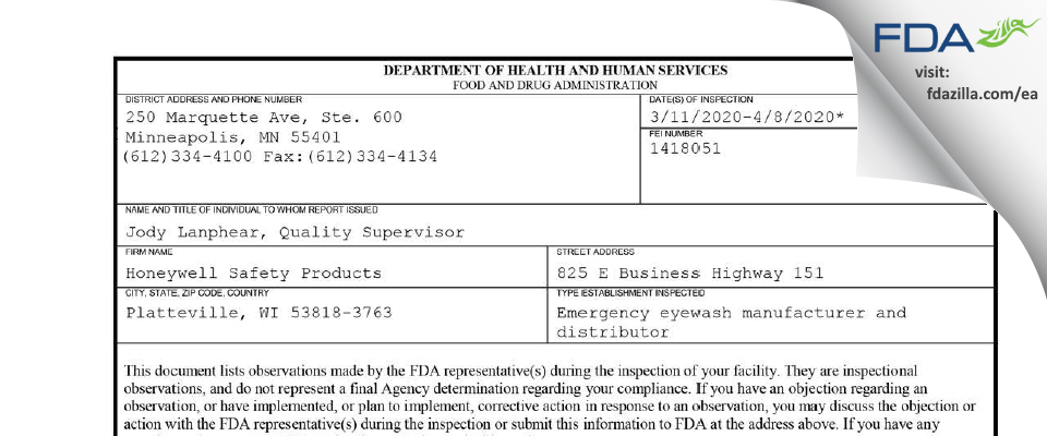 Honeywell Safety Products FDA inspection 483 Apr 2020
