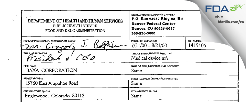 Baxter Englewood FDA inspection 483 Aug 2000
