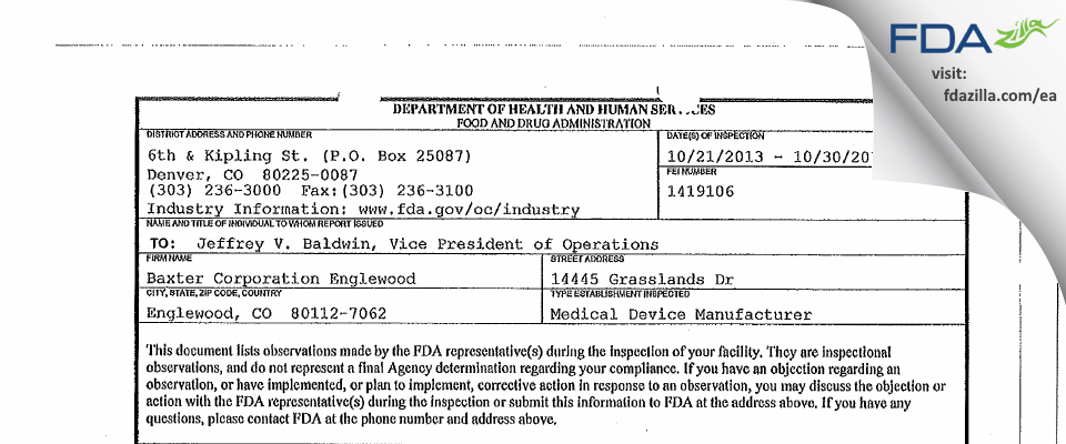 Baxter Englewood FDA inspection 483 Oct 2013