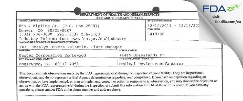 Baxter Englewood FDA inspection 483 Dec 2014