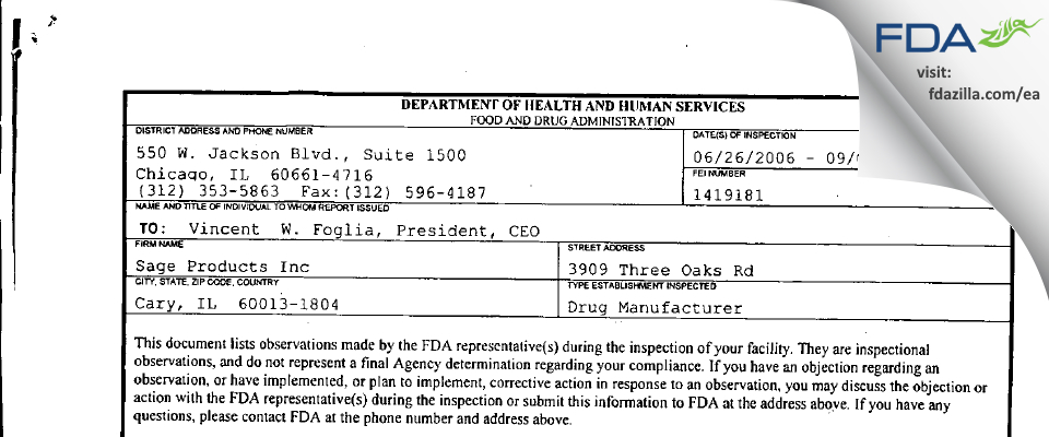 Sage Products FDA inspection 483 Sep 2006