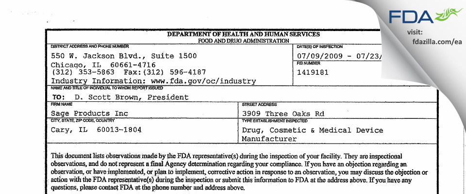 Sage Products FDA inspection 483 Jul 2009