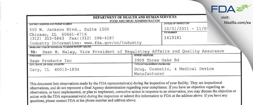 Sage Products FDA inspection 483 Nov 2011