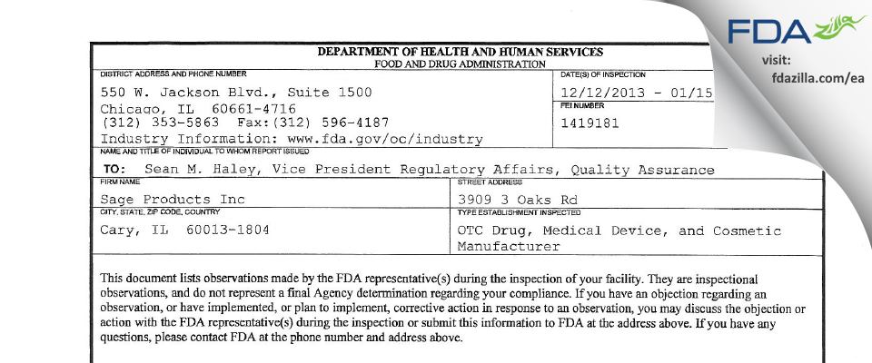 Sage Products FDA inspection 483 Jan 2014