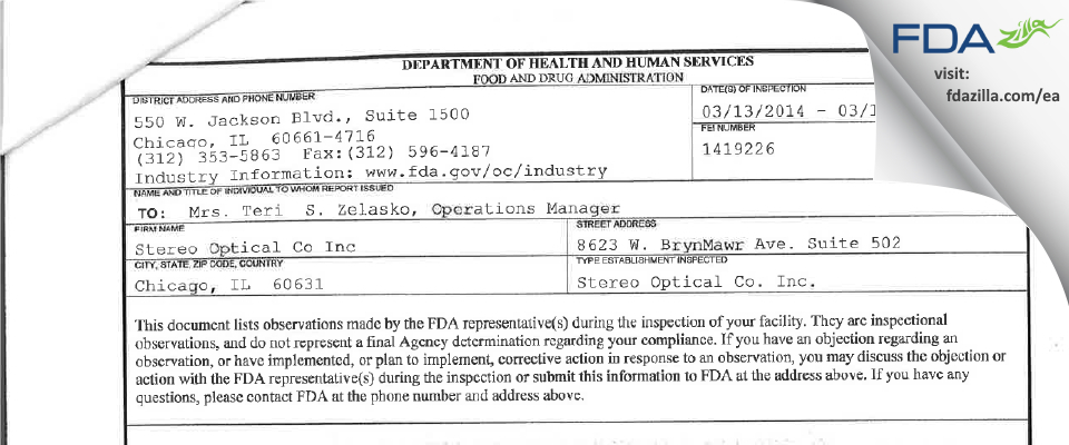 Stereo Optical Co FDA inspection 483 Mar 2014