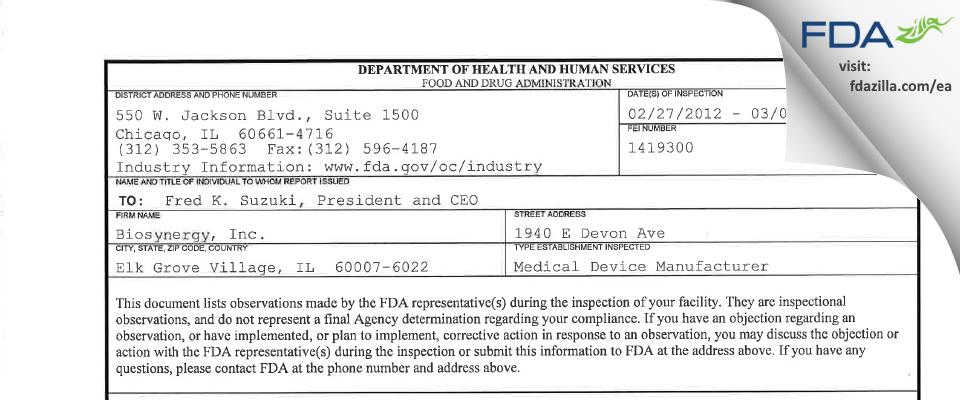 Biosynergy FDA inspection 483 Mar 2012