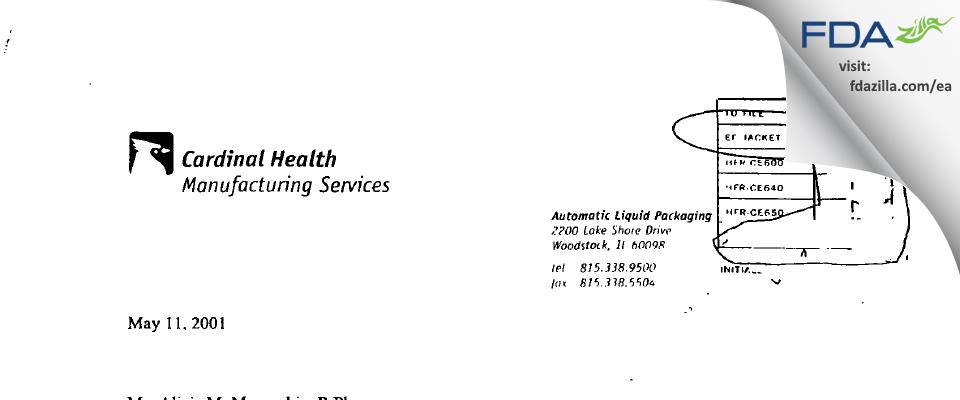 Catalent Pharma Solutions FDA inspection 483 Mar 2000
