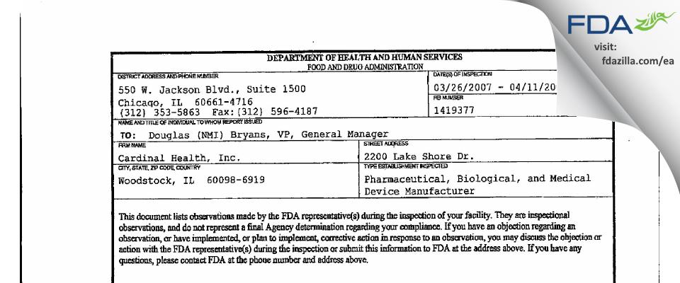 Catalent Pharma Solutions FDA inspection 483 Apr 2007