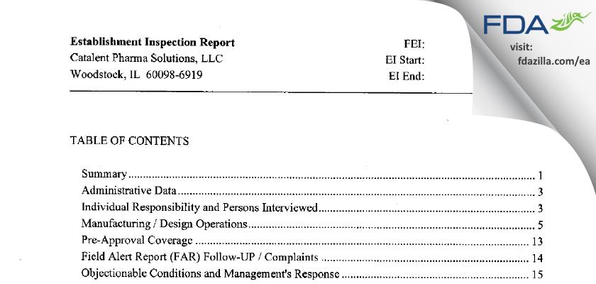 Catalent Pharma Solutions FDA inspection 483 Aug 2014