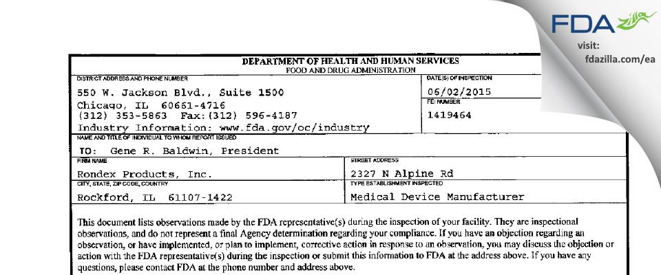 Rondex Products FDA inspection 483 Jun 2015