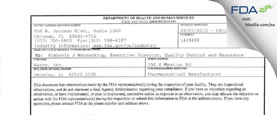 Akorn FDA inspection 483 Sep 2010