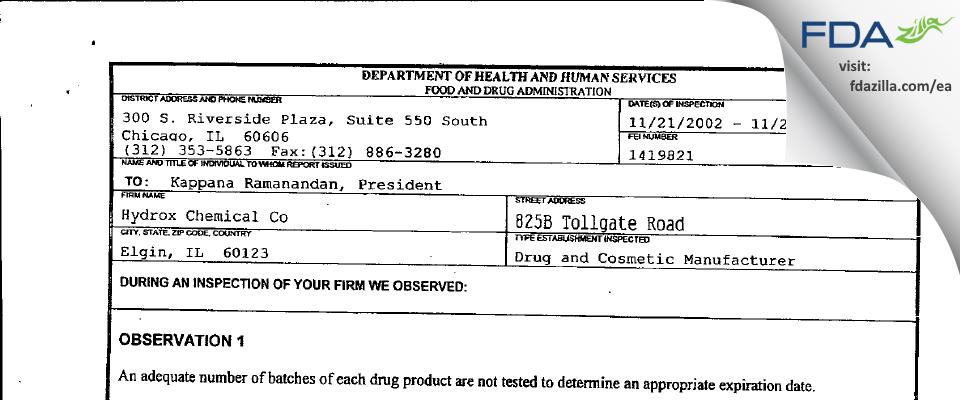 Hydrox Laborataories FDA inspection 483 Nov 2002