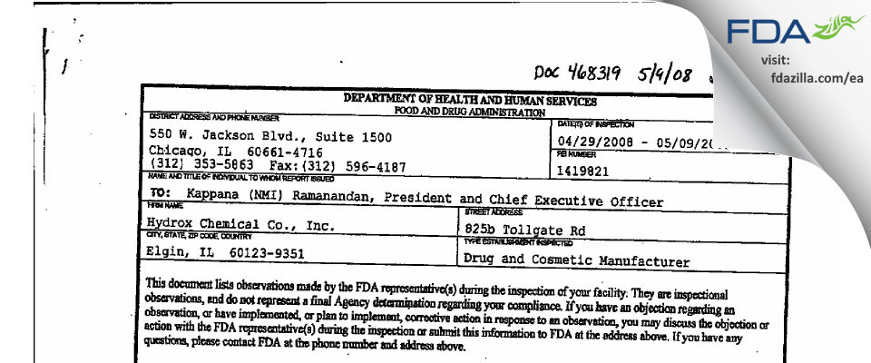 Hydrox Laborataories FDA inspection 483 May 2008