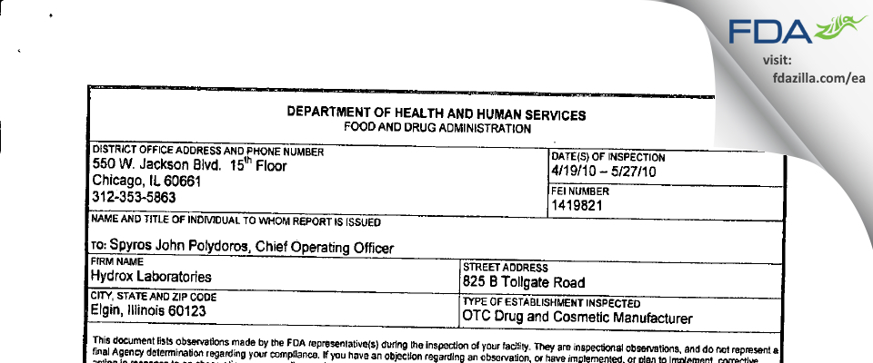 Hydrox Laborataories FDA inspection 483 May 2010