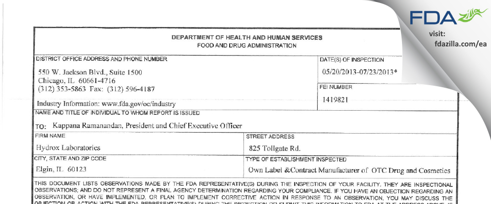 Hydrox Laborataories FDA inspection 483 Jul 2013