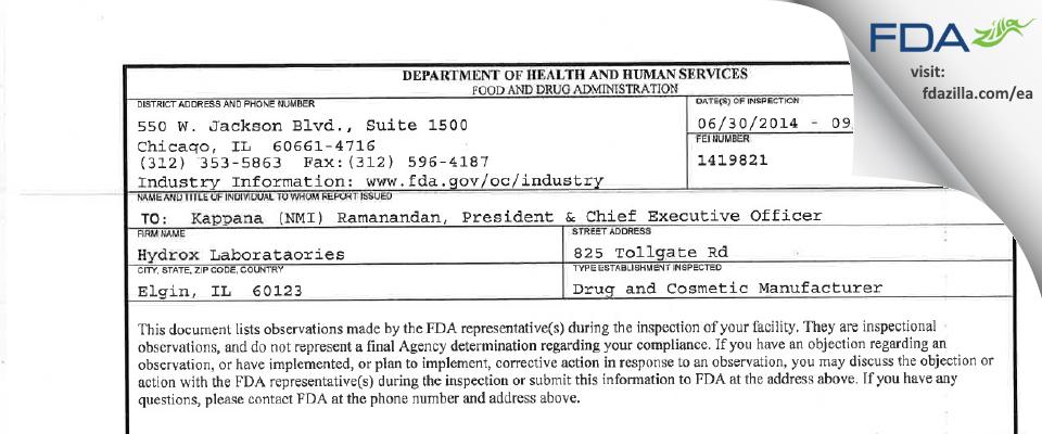 Hydrox Laborataories FDA inspection 483 Sep 2014