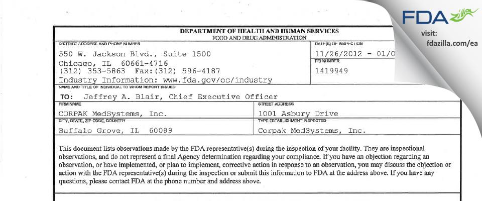 CORPAK MedSystems FDA inspection 483 Jan 2013