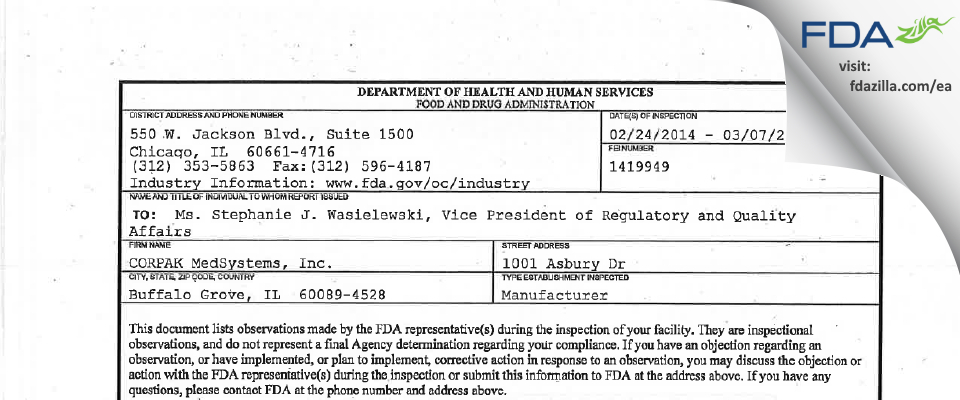 CORPAK MedSystems FDA inspection 483 Mar 2014
