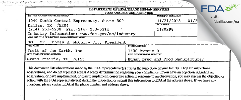 Fruit Of The Earth FDA inspection 483 Jan 2014