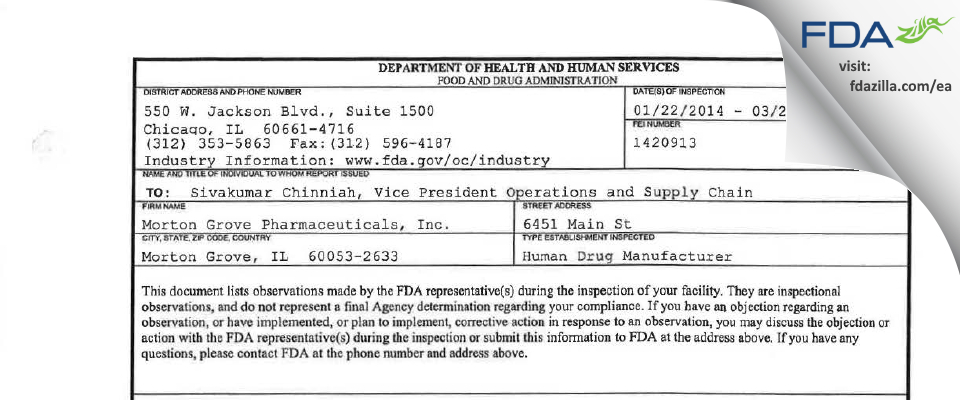 Morton Grove Pharmaceuticals FDA inspection 483 Mar 2014