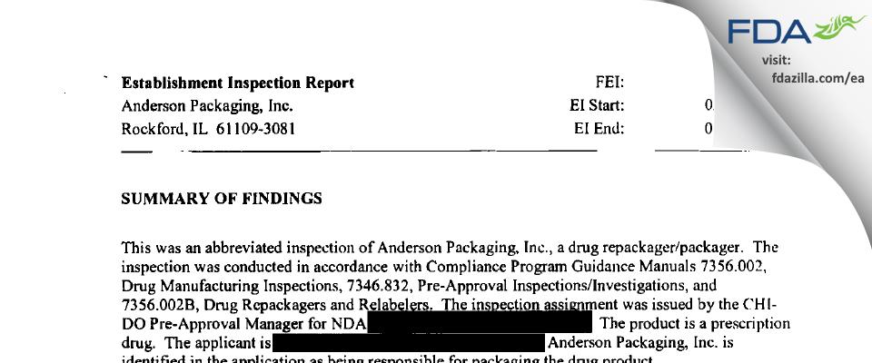 AndersonBrecon FDA inspection 483 Mar 2004