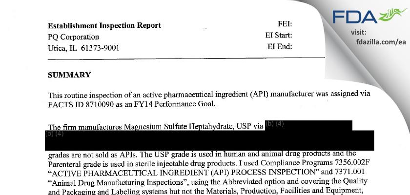 Pq FDA inspection 483 Dec 2013