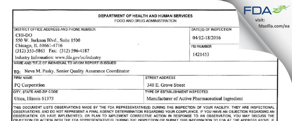 Pq FDA inspection 483 Apr 2016