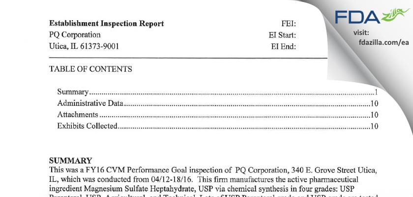 Pq FDA inspection 483 Apr 2016