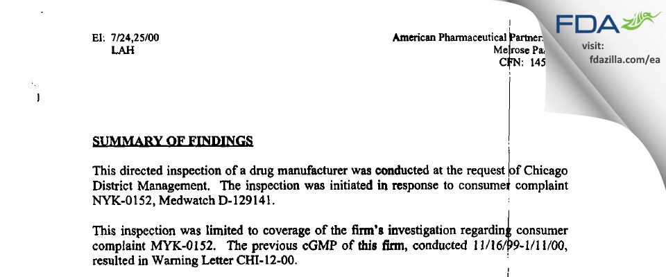 Fresenius Kabi USA FDA inspection 483 Jul 2000