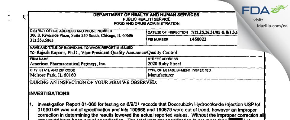 Fresenius Kabi USA FDA inspection 483 Aug 2001