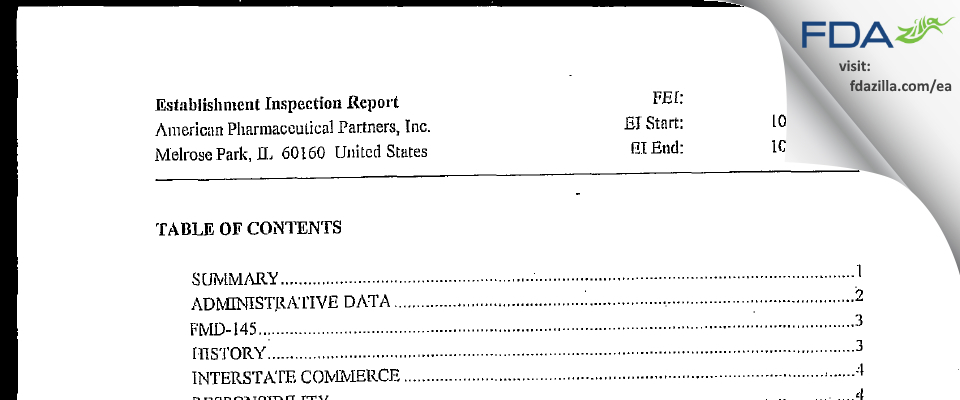 Fresenius Kabi USA FDA inspection 483 Oct 2001