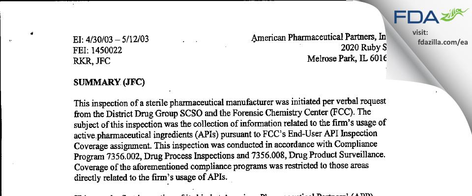 Fresenius Kabi USA FDA inspection 483 May 2003